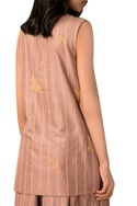 Taupe hand woven cotton silk stripe side-open blouse