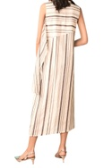 Ivory hand woven chanderi stripe sleeveless dress