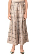 Ivory front pleated checkered pants