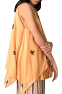 Orange hand-woven chanderi layered frilly blouse