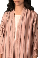 Taupe handwoven chanderi scribble hand embroidered jacket