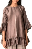 Grey handwoven chanderi frilly blouse