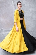 Black & mustard satin cotton sequin & zari work cape with crop top & skirt