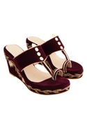 Maroon velvet & genuine leather sole hand embroidered wedges