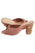 Blush pink suede & genuine leather sole hand embroidered block heels