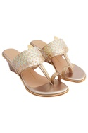 Gold genuine leather sole hand embroidered wedges