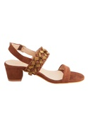 Tan suede & genuine leather sole hand embroidered block heels