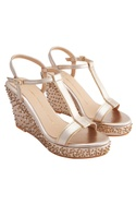 Rose gold genuine leather sole hand embroidered wedges