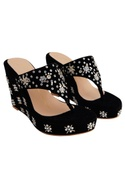 Black velvet & genuine leather sole hand embroidered wedges