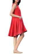 Scarlet cotton tent flared dress