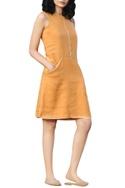 Yellow linen hand thread embroidered shift dress