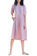 Pink linen peter pan collar pleated midi dress