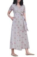 Beige cotton wrap style maxi dress