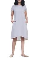 Ivory linen moonflower high low dress