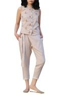 Beige overlap pants with sash & pockets