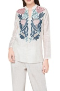 Off white cotton & silk hand embroidered tunic