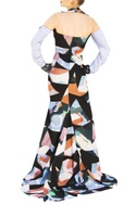 Multicolored georgette halter gown with detachable sleeves