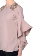 Blush pink applique bead embroidered blouse with flared sleeves