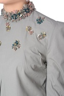 Grey bead embellished puffed sleeve blouse