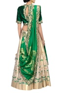 Gold & green banarasi silk lehenga set