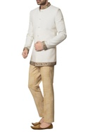 White khadi cotton zardozi embroidered bandhgala with brown hand block print trouser & inner kurta