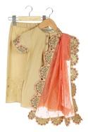 Gold embroidered organic cotton kurta with pants & dupatta