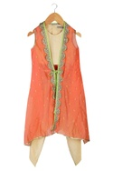 Beige crop top with dhoti pants & orange jacket