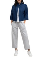 Blue linen front open short jacket