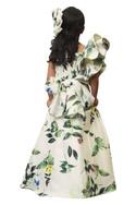 Leaf anchored one shoulder gown