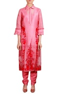 Coral & red embroidered collar jacket with salwar & inner