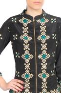 Black crepe silk mirror work blouse with draped skirt