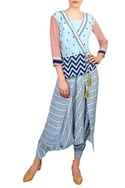 Blue & pink peplum top with dhoti jumpsuit