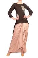 Brown crepe silk & satin high low kurta with dhoti skirt