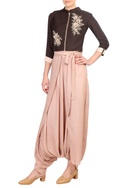 Brown embroidered jacket style blouse with flap dhoti pants