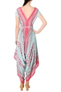 Pink & blue crepe silk printed dhoti style jumpsuit