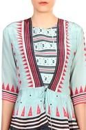 Blue printed crepe silk peplum blouse & dhoti pant jumpsuit