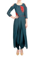 Green crepe silk layered jumpsuit
