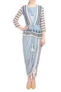 Blue crepe silk peplum top & dhoti skirt