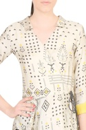Beige wrap style peplum blouse with skirt