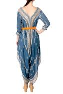 Blue printed crepe silk jumpsuit