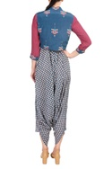 Bright pink & blue printed crepe silk jacket with dhoti pants