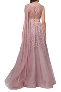 Pink net organza embroided lehenga with attached draped dupatta