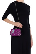 Purple embroidered bird motif & hand painted box clutch
