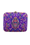 Purple hand painted elephant & pearl clutch