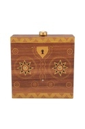 Brown & gold hand painted 'treasure chest' wood box clutch