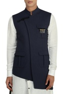 Dark grey nehru jacket with buckle detail