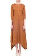Brown linen asymmetric long kurta