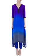 Blue ombre pure silk asymmetric kurta