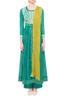 Teal green & green viscose silk gota work kurta set with dupatta