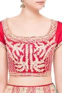 Red silk satin gota work lehenga set
